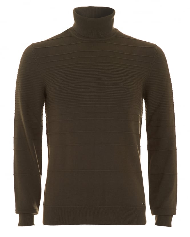 Hugo Boss - Hugo Mens Jumper, Siseal Slim Fit Polo Neck Olive Green Sweater