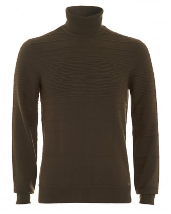 Mens Jumper, Siseal Slim Fit Polo Neck Olive Green Sweater