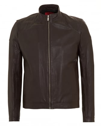 Mens Lesson1 Slim Fit Leather Chocolate Biker Jacket