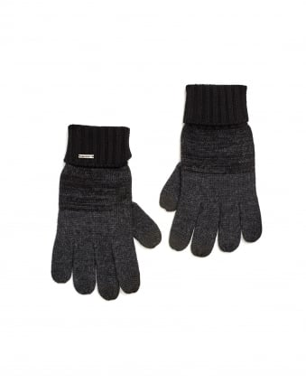Mens Men-w32 Touchscreen New Wool Black Grey Gloves