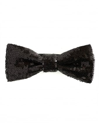 Mens Pailliettes Black Sequin Bow Tie