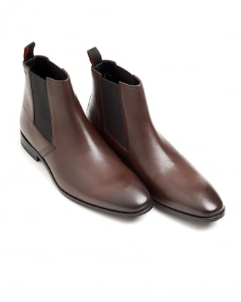 Mens Square_Cheb Lasered Detail Brown Leather Chelsea Boots