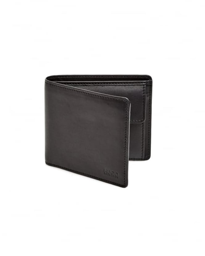 Hugo Boss - Hugo Mens Subway_Trifold Smooth Black Leather Wallet