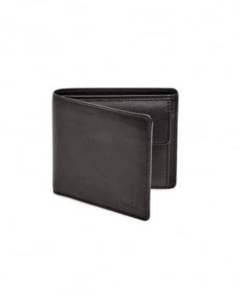 Mens Subway_Trifold Smooth Black Leather Wallet