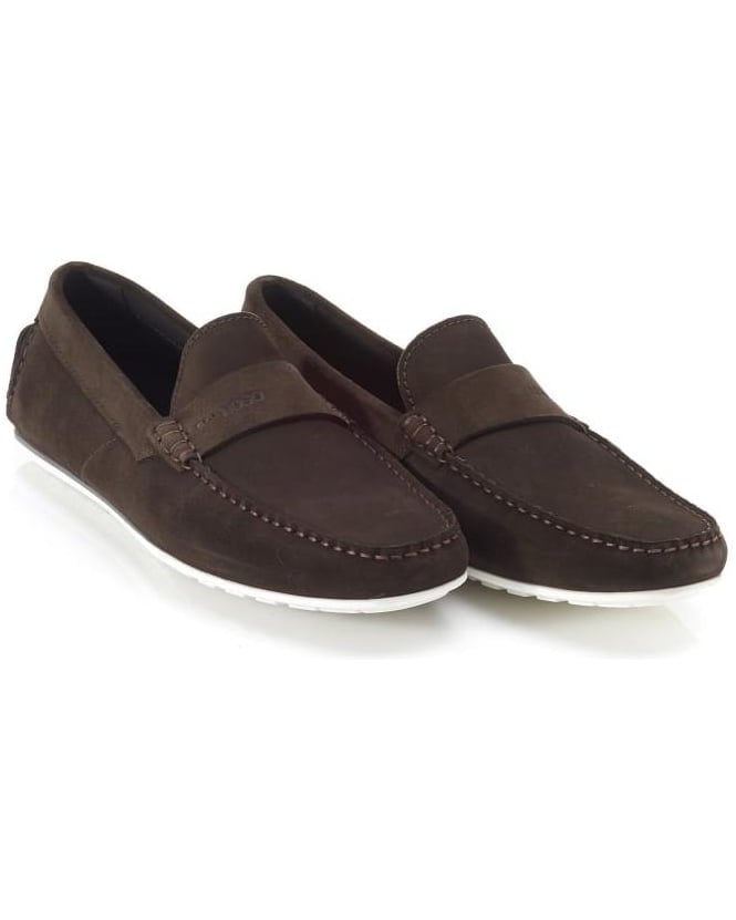 Hugo Boss - Hugo Mens Suede Moccasins C-Traveso Chocolate Brown Loafer