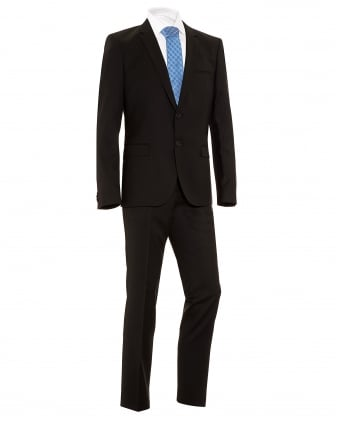 Mens Suit, Arti1 Heilon Plain Black Slim Fit Wool Suit