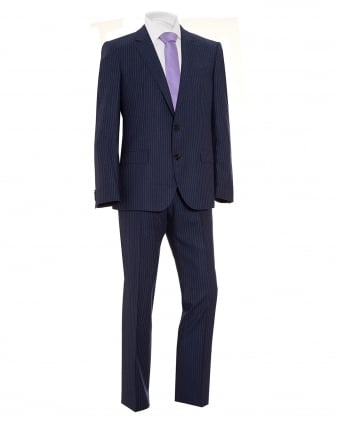 Mens Suit, C-Jeys1 C-Shaft1 Finely Striped Wool Navy Suit