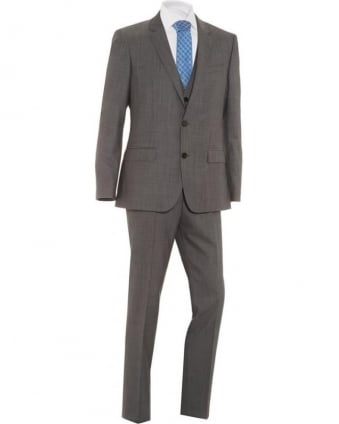 Mens Suit Huge4 Genius3 Three Piece Wool Slim Grey Suit