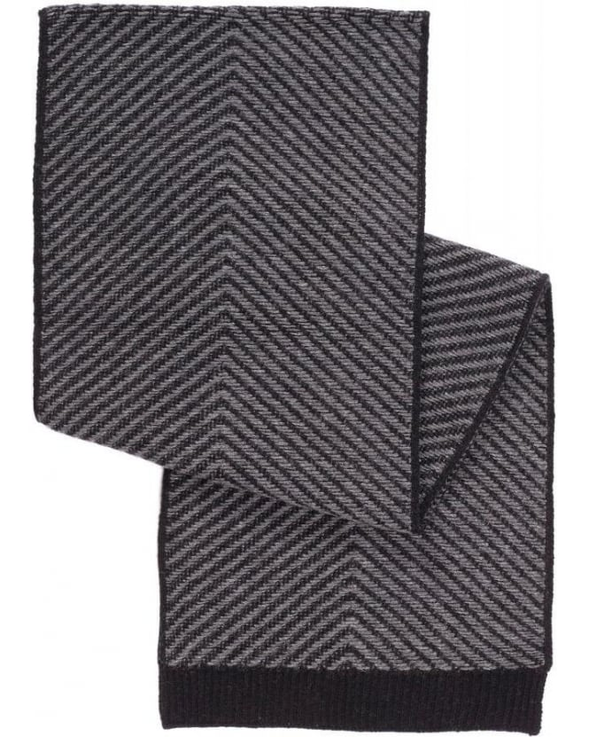 Hugo Boss - Hugo Zoner Black and White Chevron Scarf