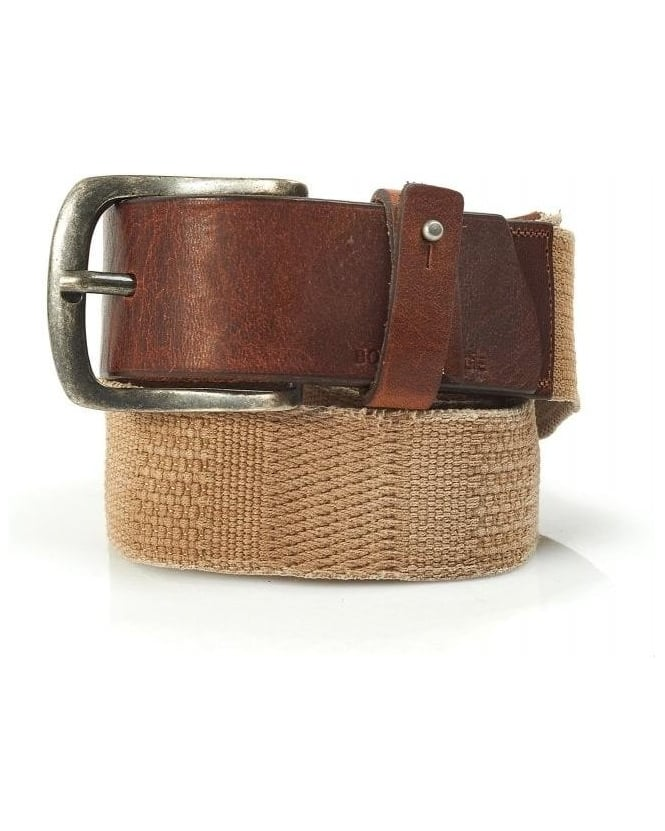 BOSS Casual Belt, Beige Canvas And Leather 'Jimmox' Belt