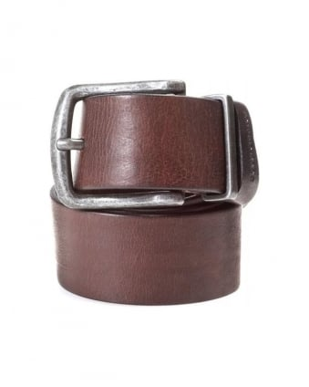 Belt, Brown Grained Leather 'Jeppo' Belt