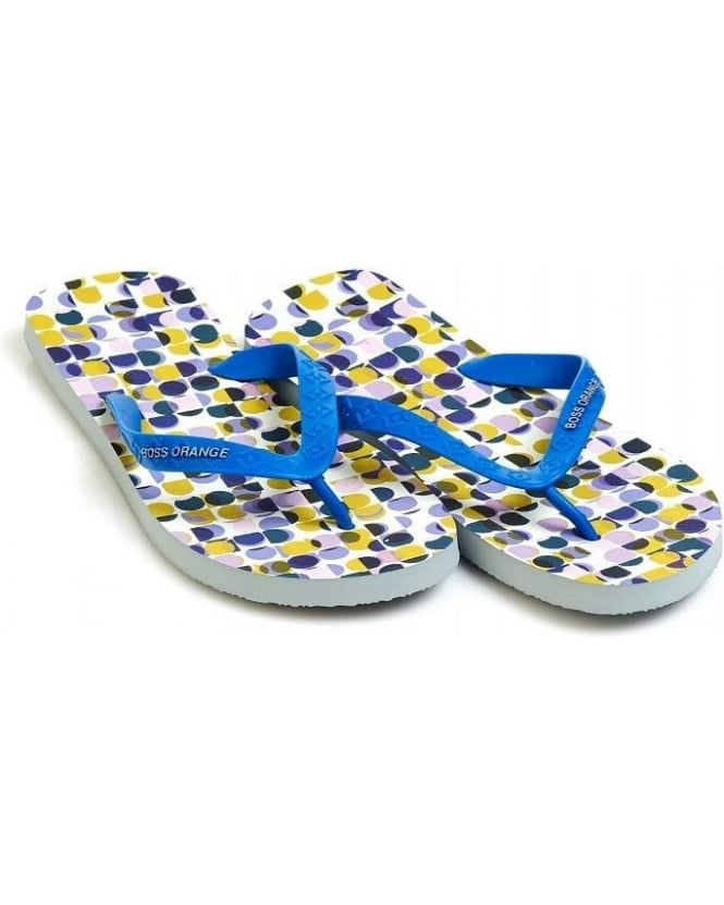 Hugo Boss Orange 'Losti' Royal Blue Dot Print Flip Flops