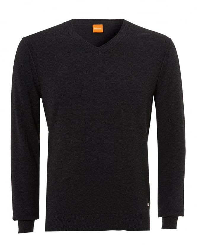 BOSS Casual Mens Albono Jumper, V-Neck Dark Grey Melange Sweater