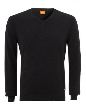 Mens Albono Jumper, V-Neck Dark Grey Melange Sweater