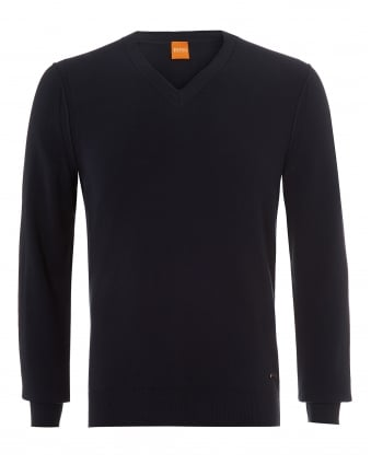 Mens Albono Jumper, V-Neck Navy Sky Captain Sweater