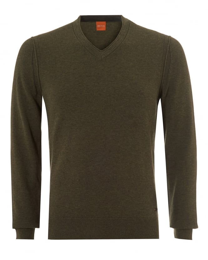 Hugo Boss Orange Mens Albono Jumper, V-Neck Olive Night Sweater