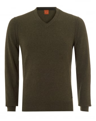 Mens Albono Jumper, V-Neck Olive Night Sweater