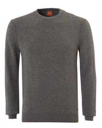 Mens Albonon Jumper, Crew Neck Castle Grey Sweater