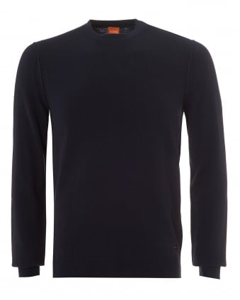 Mens Albonon Jumper, Crew Neck Navy Sky Captain Sweater