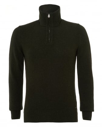 Mens Almore Knit, Quarter Zip Olive Night Jumper