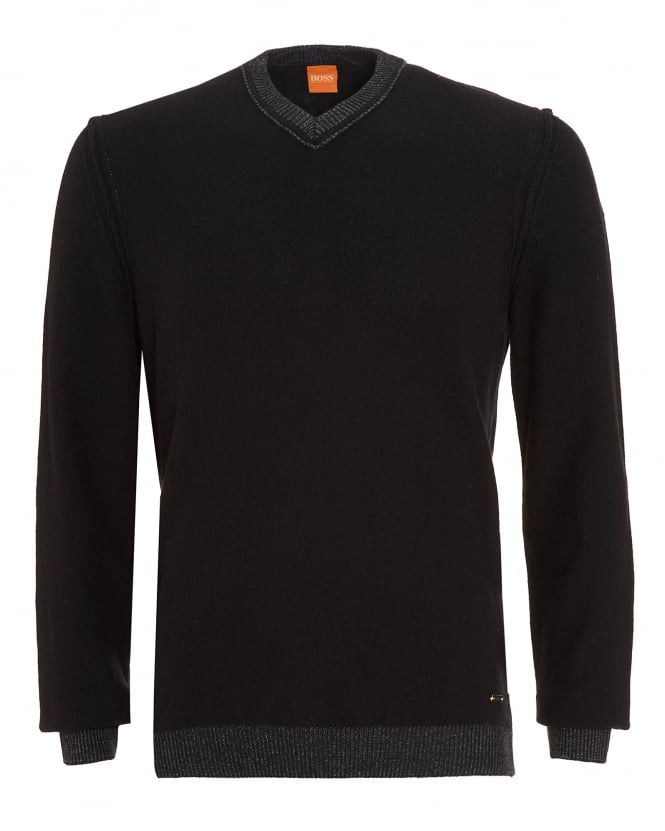 Hugo Boss Orange Mens Amindas Jumper, Black Slim Fit V-Neck Sweater