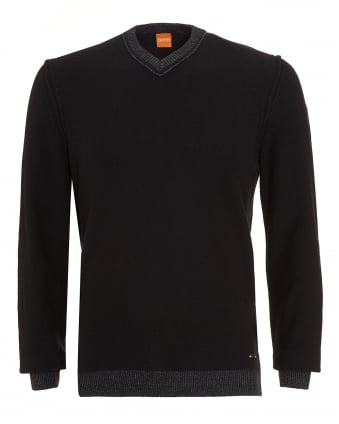 Mens Amindas Jumper, Black Slim Fit V-Neck Sweater