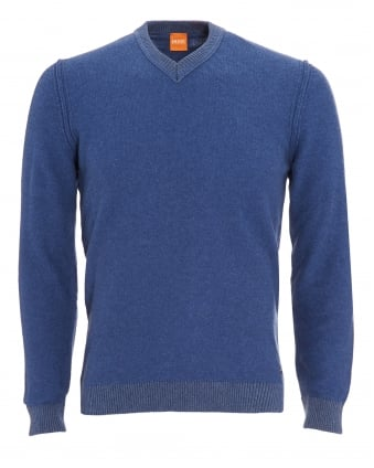 Mens Amindas Jumper, Ink Blue Slim Fit V-Neck Sweater