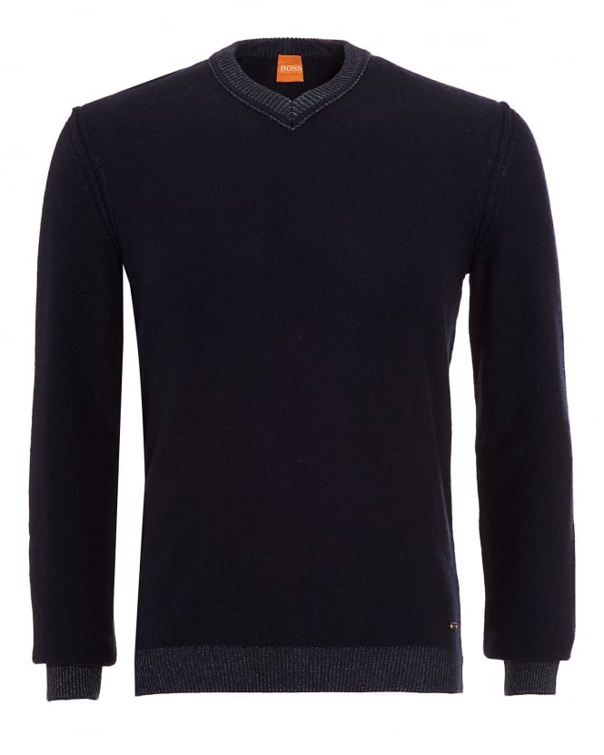 Hugo Boss Orange Mens Amindas Jumper, Navy Blue Slim Fit V-Neck Sweater
