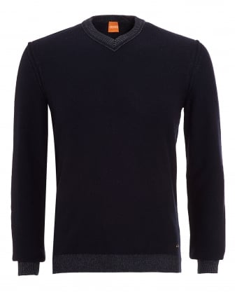 Mens Amindas Jumper, Navy Blue Slim Fit V-Neck Sweater