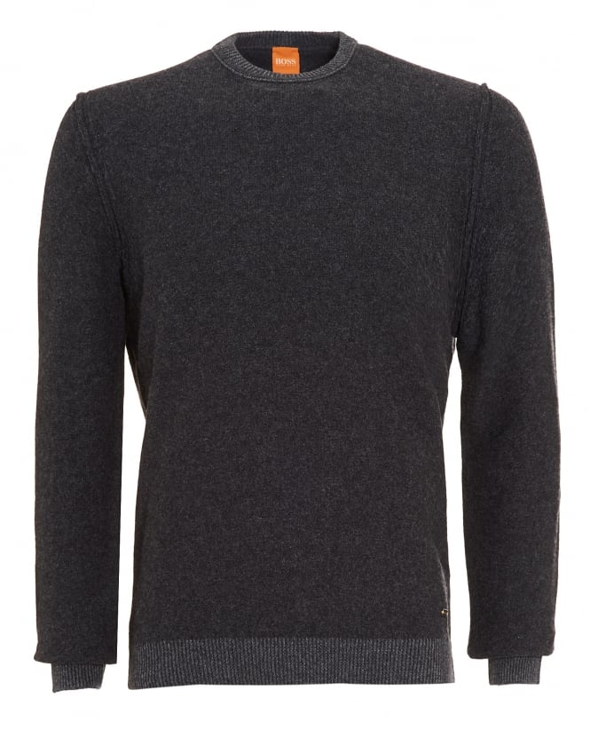 Hugo Boss Orange Mens Amindo Jumper, Charcoal Grey Slim Fit Sweater