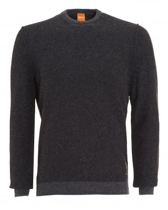Mens Amindo Jumper, Charcoal Grey Slim Fit Sweater