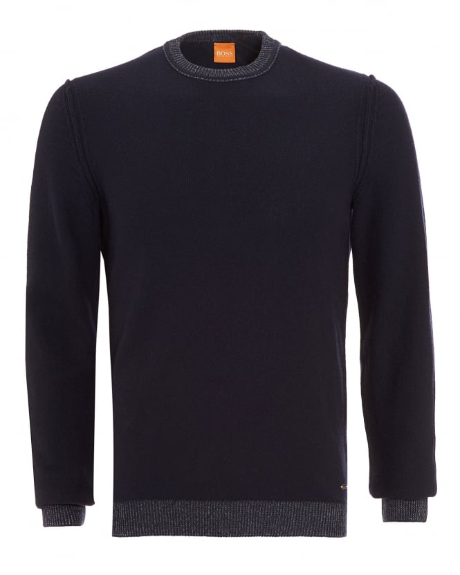 Hugo Boss Orange Mens Amindo Jumper, Navy Blue Slim Fit Sweater