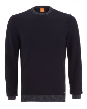 Mens Amindo Jumper, Navy Blue Slim Fit Sweater