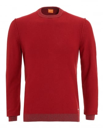Mens Amindo Jumper, Red Slim Fit Sweater