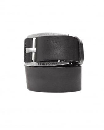 Mens Bakaba-N Vintage Look Black Leather Belt