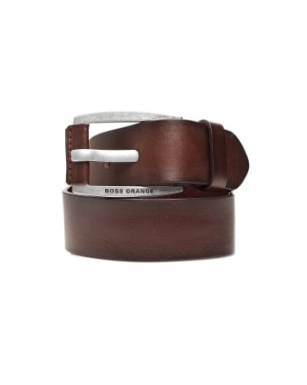 Mens Bakaba-N Vintage Look Brown Leather Belt