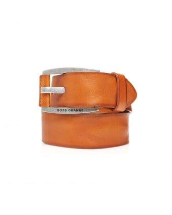 Mens Bakaba-N Vintage Look Tan Leather Belt