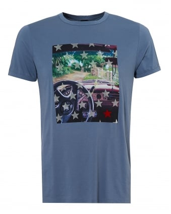 Mens Car Dash Turbulent T Shirt, Sky Blue Graphic Tee