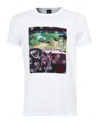 Mens Car Dash Turbulent T Shirt, White Graphic Tee