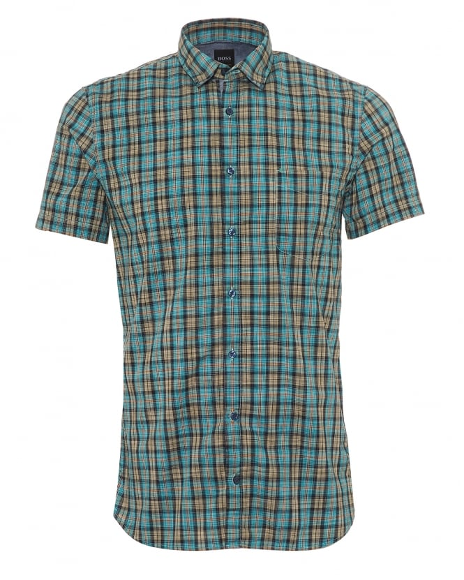 BOSS Casual Mens Cattitude 1 Short Sleeved Shirt, Small Check Aqua Orange Shirt