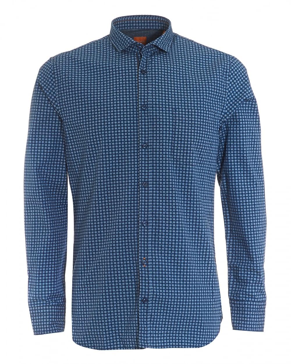 Mens Cattitude Slim Fit Geometric Print Navy Blue Shirt