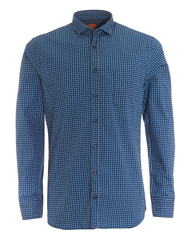 Hugo Boss Orange Mens Cattitude Slim Fit Geometric Print Navy Blue Shirt