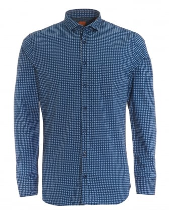 Mens Cattitude Slim Fit Geometric Print Navy Blue Shirt