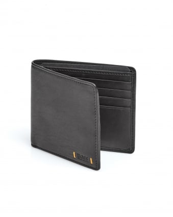 Mens City 8cc Leather Embossed Badge Black Wallet