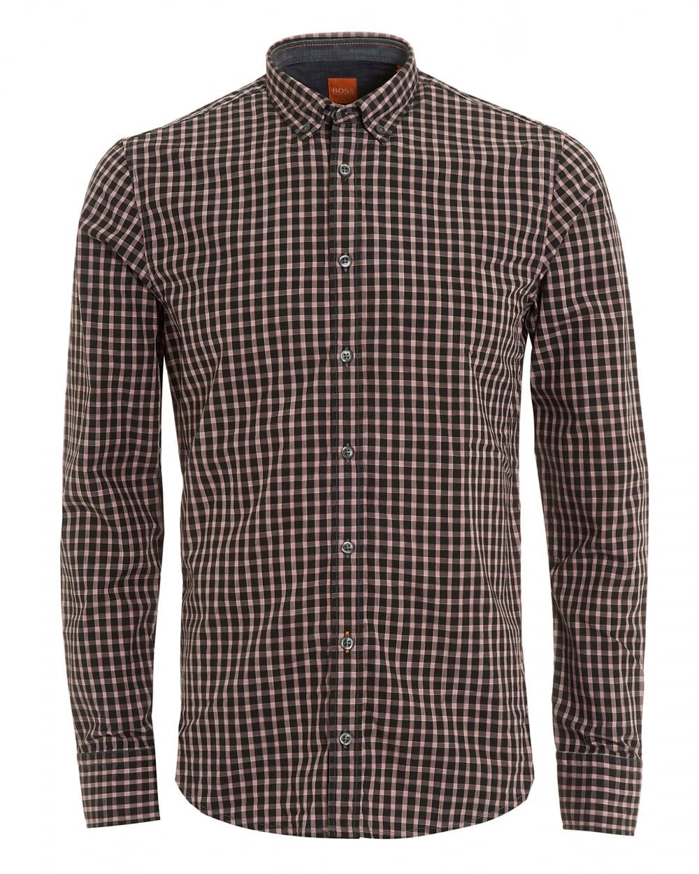 Hugo Boss Orange Mens Edipoe Black Pink Check Slim Fit Shirt