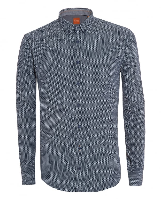 Hugo Boss Orange Mens EdipoE Blue Geometric Print Slim Fit Shirt
