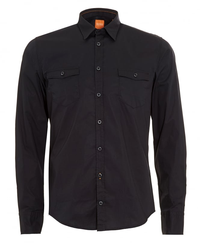 Hugo Boss Orange Mens EdoslimE Black Slim Fit Shirt