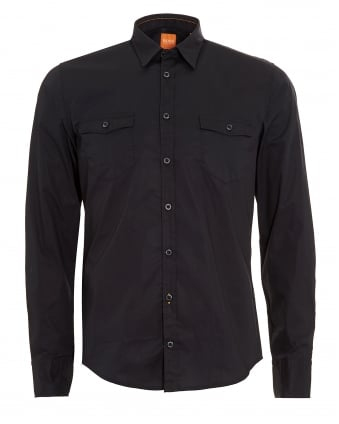 Mens EdoslimE Black Slim Fit Shirt