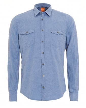 Mens EdoslimE Sky Blue Slim Fit Shirt