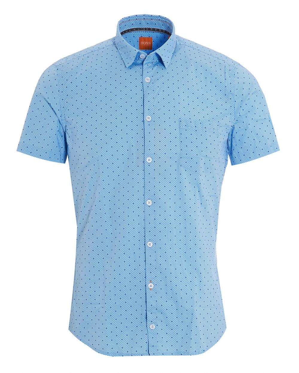 Hugo Boss Orange Mens Eglam Short Sleeve Blue Polka Dot Shirt